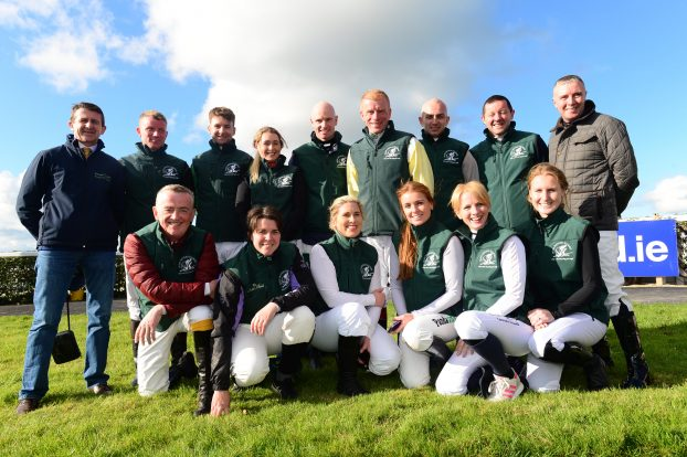 The Irish National Stud employee Harry Shearman enjoys Corinthian Challenge success  in race two of the Irish Injured Jockeys Charity Race Series